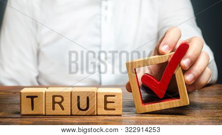 A Man Holds A Red Check Mark Over Word True. Confirm The Veracity And Truth. Fight Against Fake News
