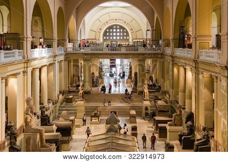 The Museum Of Egyptian Antiquities - Interior Of Egyptian Museum In Cairo, Egypt - April 19, 2019