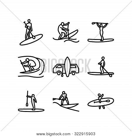 Stand Up Paddle Surfing, Boarding. Man Surfer With Paddle. Paddleboarding, Sup Fitness.  Abstract Is