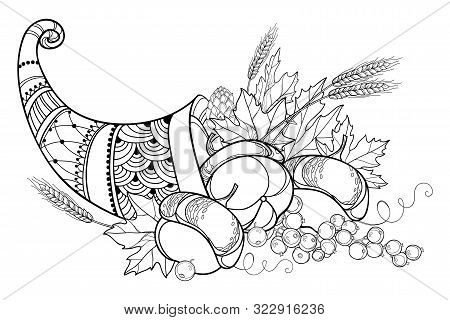 Vector Outline Cornucopia Or Horn Of Plenty Full Of Pumpkin, Grape, Wheat And Maple Leaf In Black Is