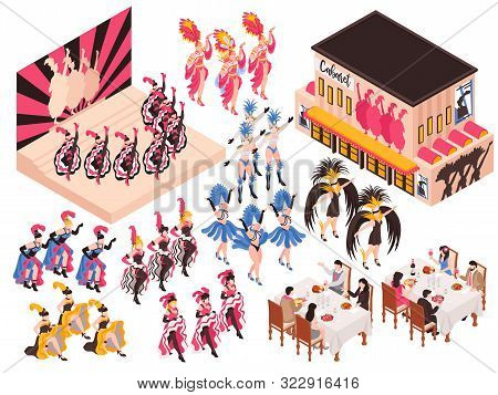 Cabaret Isometric Set With Night Restaurant Building And Different Fragments Of Cancan Show For Adul