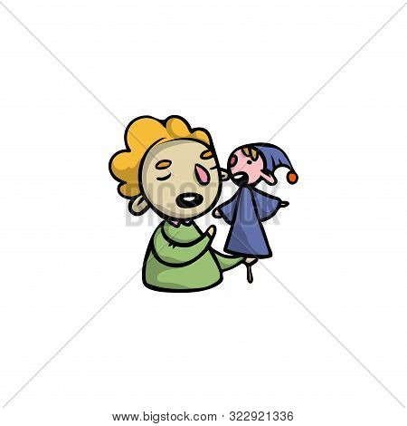 Puppeteer With Clown Puppet In Blue Clothes Vector Illustration