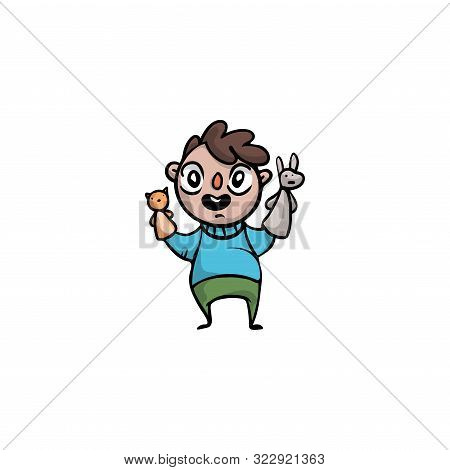 Boy Puppeteer Holding Animals Puppets On Hands Vector Illustration