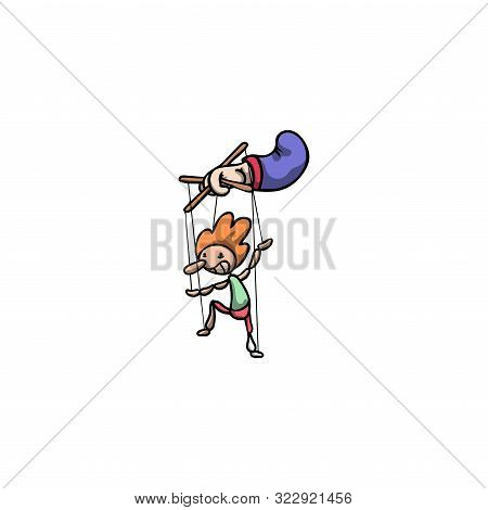 Puppeteers Hand Holding Red Haired Clown Puppet Illustration