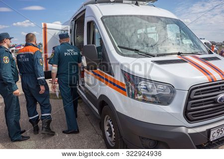 KALININGRAD, Russia - August 18, 2019: Emergency Services Show, Ford Rescue Service Car, Special Emergency Rescue Vehicle, Russian EMS Emergency Medical Services and Technical Rescue