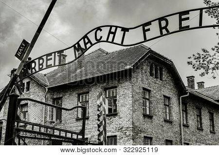 Etrance gate into concentration camp Auschwitz