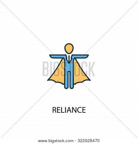 Reliance Concept 2 Colored Line Icon. Simple Yellow And Blue Element Illustration. Reliance Concept