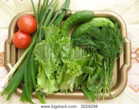 Verdure And Vegetables On The Tray.