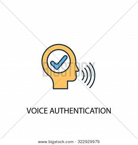 poster of voice authentication concept 2 colored line icon. Simple yellow and blue element illustration. voice authentication concept outline symbol
