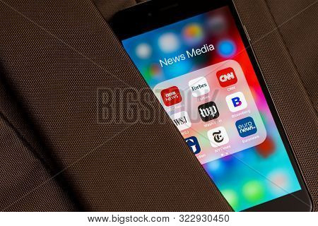 Tallinn / Estonia - September 18, 2019: Black Apple Iphone With Icons Of News Media: Bbc News, Forbe