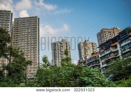 Town Residential Suburb With High Residential Buildings And Blocks Of Flats In Chengdu, China