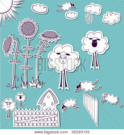 Doodle Country Set, hand drawn set of 3D scrapbook cutouts: sunflowers, clouds, sun, sheep, picket fence etc. Black and white