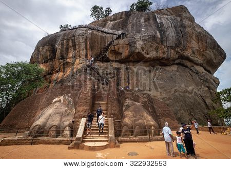 Sigiriya / Sri Lanka- August 08-2019: The Entrance To The Sigiriya Lion Rock Fortress In Sigiriya, S