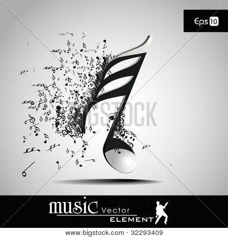 3D musical notes with burst effect. EPS 10, can be use as banner, tag, icon, sticker, flyer or poster. Vector illustration in EPS 10. poster