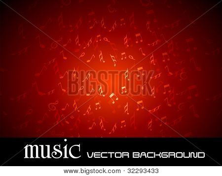 Vector illustration of musical background with fly music notes on red background, can be use as flyer, banner or poster in disco party and other events. EPS 10. Vector illustration.