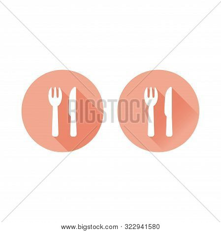 Fork And Knife, Diner Sign Circle Long Shadow Vector Icon. Restaurant Colorful Symbol.