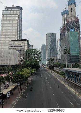Jakarta, Indonesia - August 3, 2019: Cityscape Of Jalan Thamrin (thamrin Street).