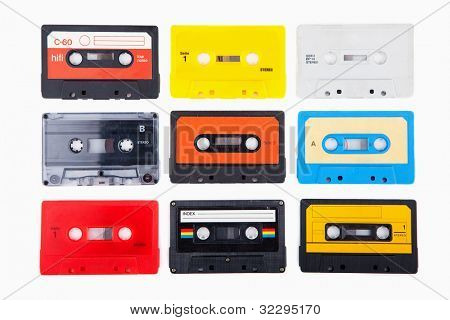 Collection of retro audio cassette