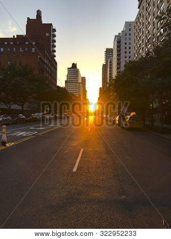 Beautiful Sunset In Yorkville, Upper East Side, Manhattan In New York City