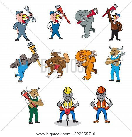 Set Or Collection Of Cartoon Character Mascot Style Illustration Of An Animal Tradesman Like A Turke