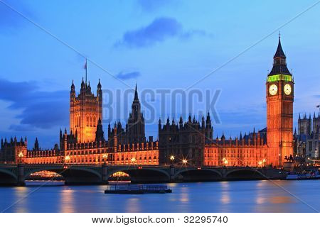 Big Ben and House of Parliament at River Thames International Landmark of London England United Kingdom at Dusk