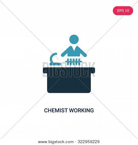 Chemist Working Icon In Two Color Design Style. Chemist Working Vector Icon Modern And Trendy Flat S