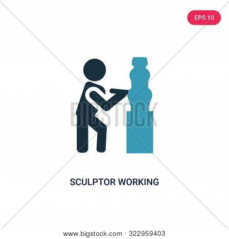 Sculptor Working Icon In Two Color Design Style. Sculptor Working Vector Icon Modern And Trendy Flat