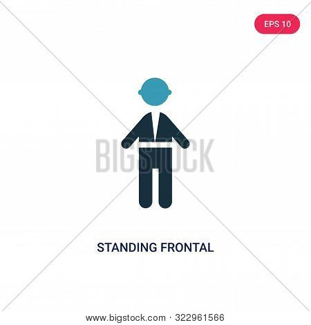 standing frontal man icon in two color design style.