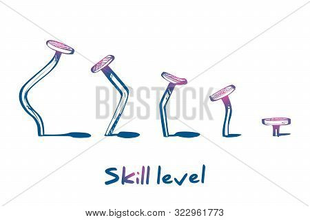 Skill Level Concept. Training Skill. From Beginner To Skilled Expert.symbol Of Successful Training A