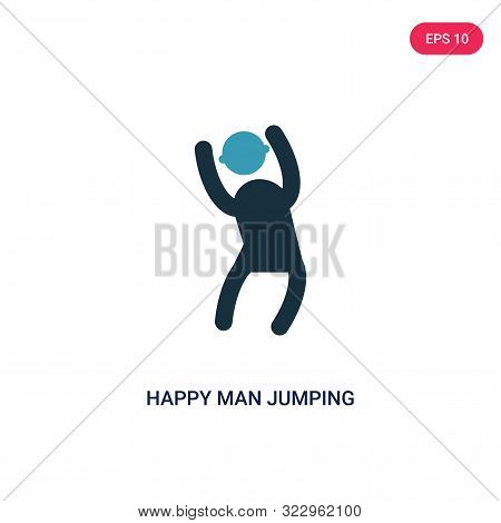 Happy Man Jumping Icon In Two Color Design Style. Happy Man Jumping Vector Icon Modern And Trendy Fl