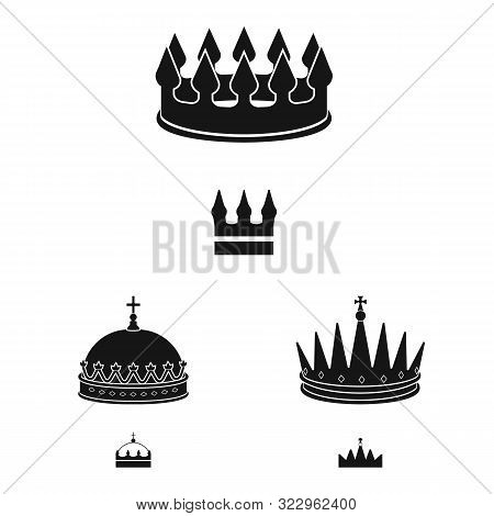 Vector Illustration Of King And Majestic Sign. Collection Of King And Gold Vector Icon For Stock.