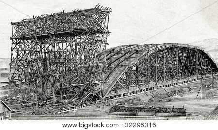 Construction of the railway bridge over the Yenisei River, Siberia. Engraving by  Shyubler. Published in magazine