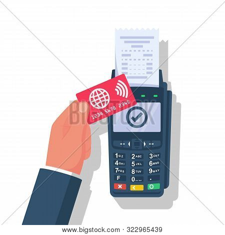 Nfc Concept. Landing Page Contactless Payment. Non-cash Payment Transactions. Businessman Is Calcula