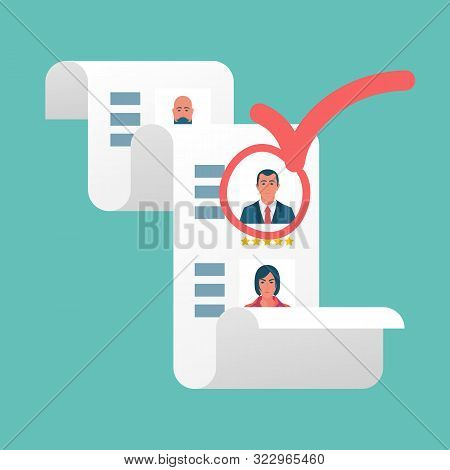 Recruitment Concept. Approval Of The Candidate. Human Resources. Red Mark On A Successful Businessma