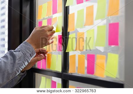 It Worker Tracking His Tasks On Kanban Board. Using Task Control Of Agile Development Methodology. M