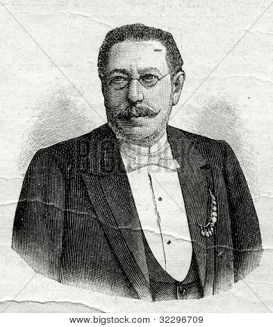 H. Kruger - a banker, financier. Engraving by  Shyubler. Published in magazine