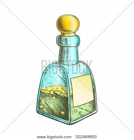 Bubbled Potion Liquid Bottle Vector. Retro Glass Bottle With Blank Label And Cap In Sphere Form. Cre