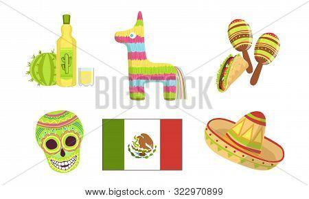 Traditional Cultural Mexico Symbols Set, Maracas, Pinata, Sugar Skull, Flag, Sombrero Hat, Tequila V