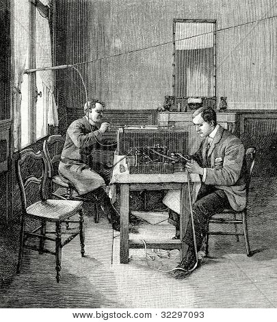 Telegraph: telegrams reception in England. Engraving by  Shyubler. Published in magazine