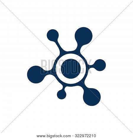 Abstract Neuron Cell Biotech Molecule Atom Nanotechnology Logo Vector Icon