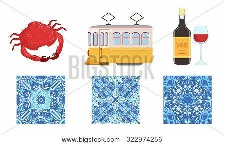 Traditional Portugal Symbols Set, Historical Signs Of Lissabon, Travel To Portugal Design Elements I