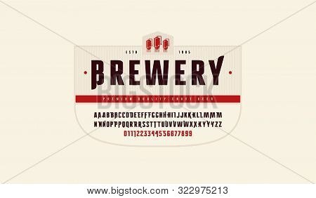 Stock Vector Sans Serif Font With Initial Letters And Numbers For Logo And Headline Design. Color Pr