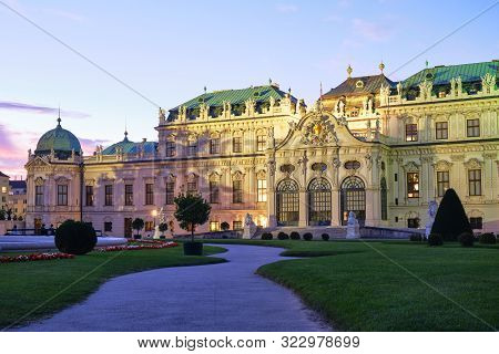 Vienna, Austria - September 12, 2019: Upper Belvedere Palace In Wien, At Dusk, With Nice Warm Light