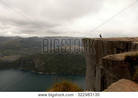 Preikestolen The Pulpit Rock, Most Famous Tourist Attraction In Ryfylke, Towers An Impressive 604 Me