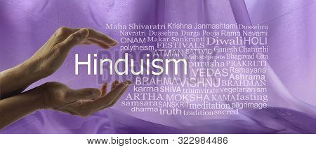 Aspects Of Divine Hinduism Word Tag Cloud - Female Hands Cupped Around The Word Hinduism Surrounded