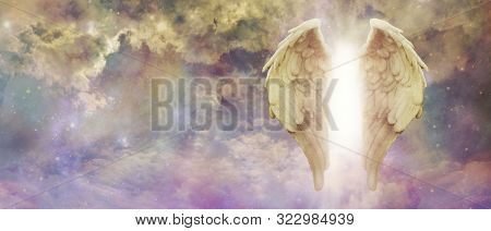 Guardian Angel Light Being Watching Over You - Pair Of Golden Angel Wings With A Bright Light Betwee