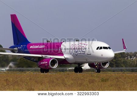 Borispol, Ukraine - September 10, 2019: Ha-lyx Wizz Air Airbus A320-200 Aircraft Departing From The