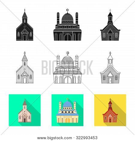 Vector Illustration Of Cult And Temple Symbol. Collection Of Cult And Parish Stock Symbol For Web.