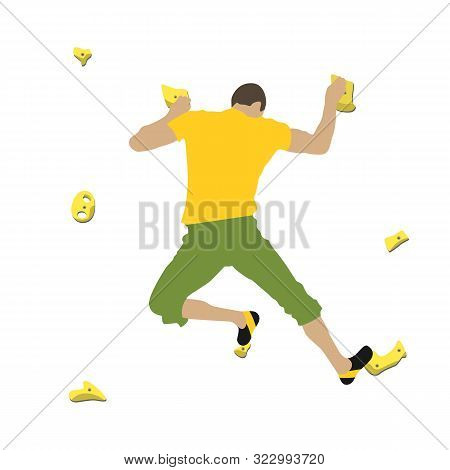 Man Climbs A Climbing Wall In A Climbing Gym Isolated On A White Background. Vector Illustration.