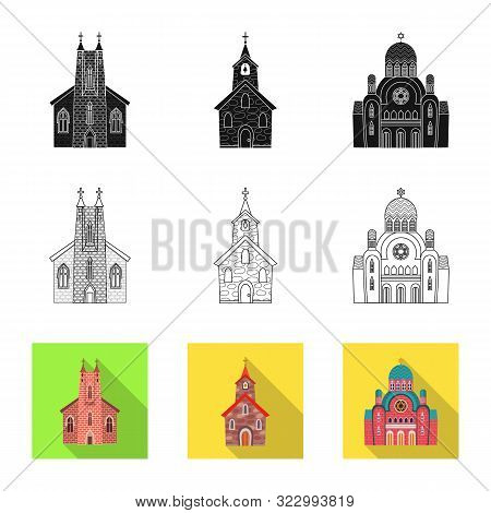 Vector Design Of Cult And Temple Icon. Set Of Cult And Parish Stock Vector Illustration.